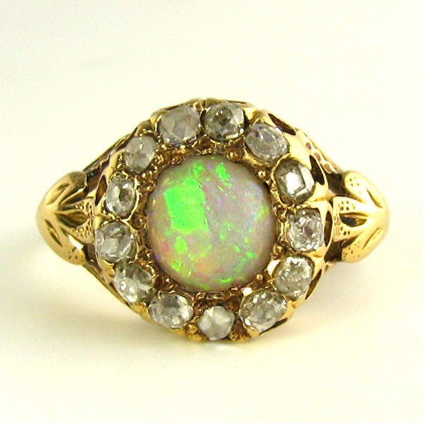 Turn of the Century to Art Deco Opal and Old Mine Diamond Ring - Appraised $1800