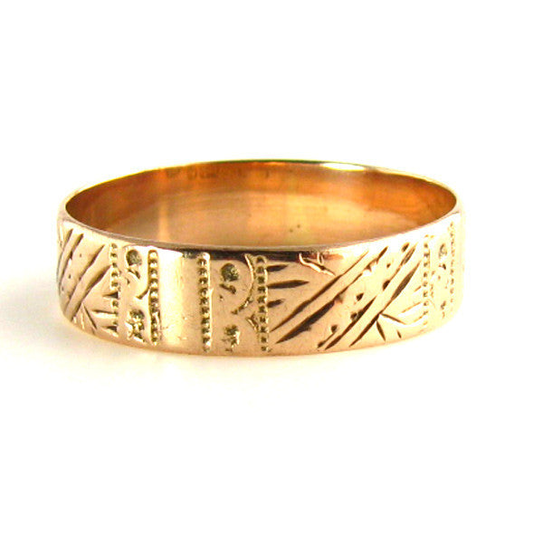 Antique Victorian 1893 Birmingham Etched Gold Wedding Band