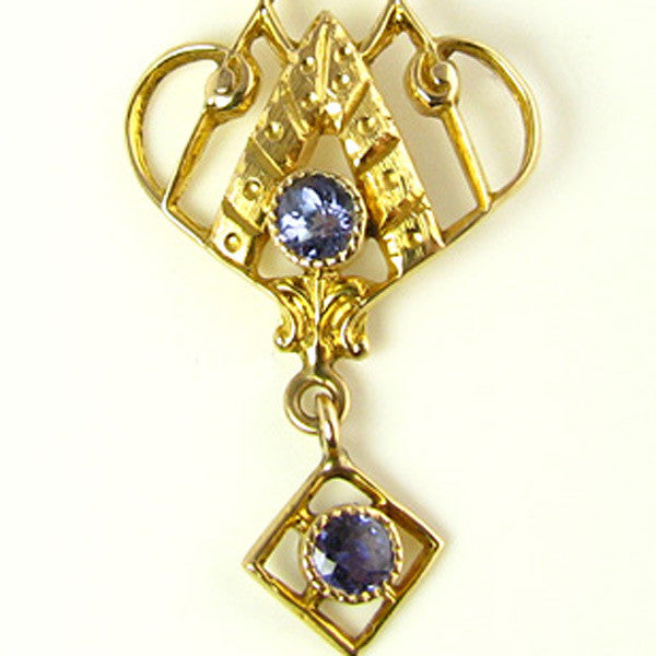 Art Deco Pendant with Natural Sapphires and a Seed Pearl