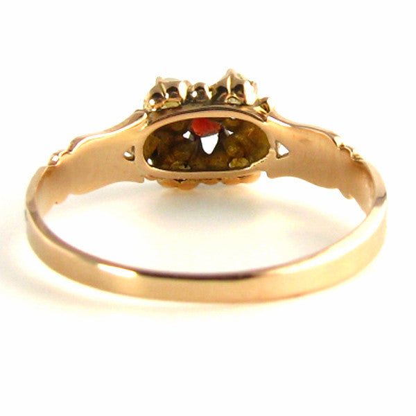 Antique Victorian Ring - Rose Gold with Garnets and Pearls back