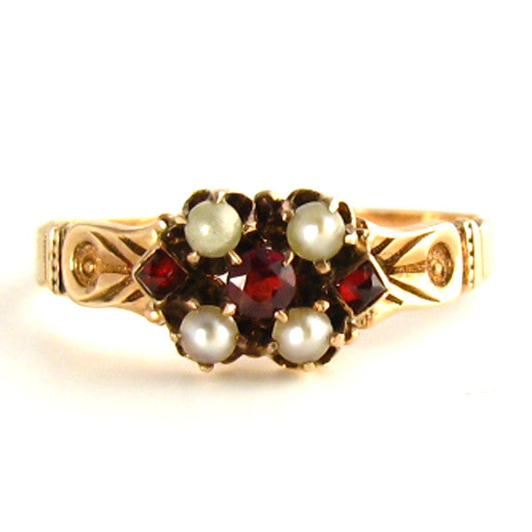 Antique Victorian Ring - Rose Gold with Garnets and Pearls