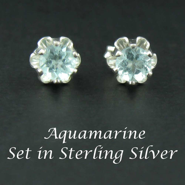 Aquamarine Sterling Silver Earrings in Buttercup 4mm Settings