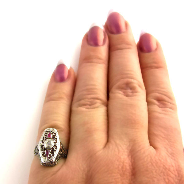 Art Deco Ring: Diamond & 18K White Gold Filigree Ring on Hand