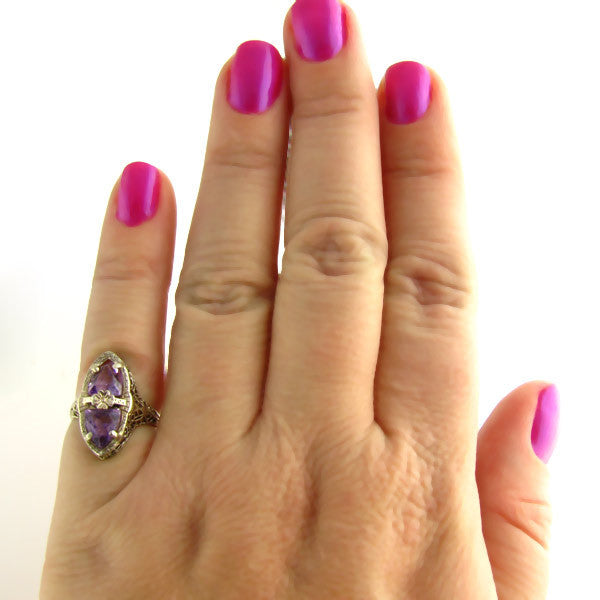 Art Deco Amethyst Ring On Hand