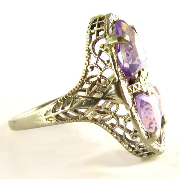 Art Deco Amethyst Ring - Side