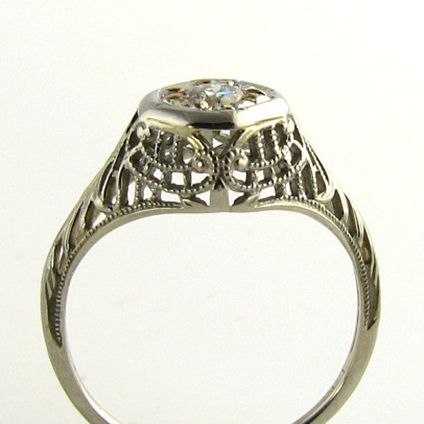 Cutwork Art Deco Diamond Ring