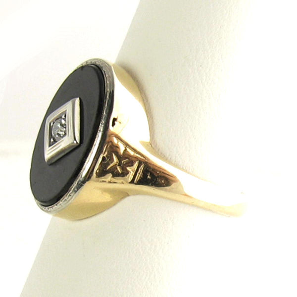 Vintage Onyx Mens Ring with 14K Gold and Old European Cut Diamond - Beautiful Antique Jewelry