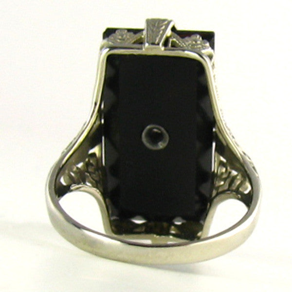 Art Deco Onyx Ring by Arch Crown Mfg Company - Back