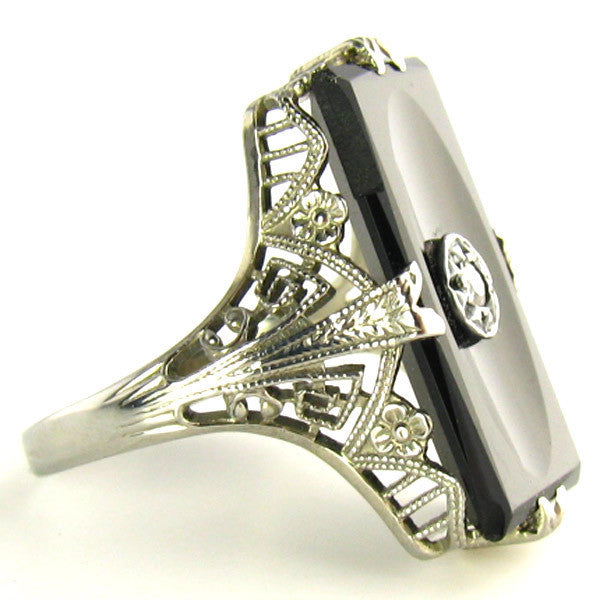 Art Deco Onyx Ring by Arch Crown Mfg Company-Side