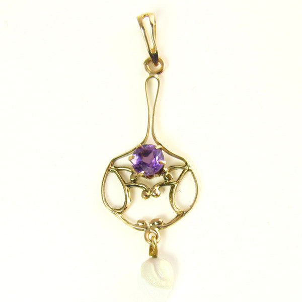 Antique Necklace with a Natural Amethyst in 10K Yellow Gold