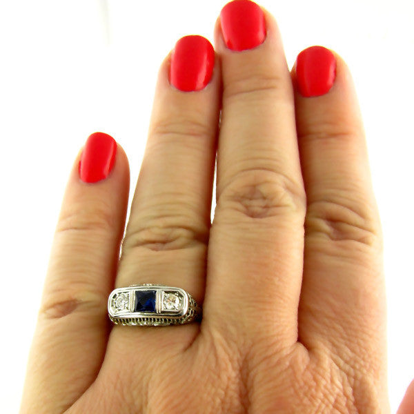 Art Deco Sapphire Ring On Hand