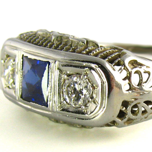 Art Deco Sapphire Ring Side