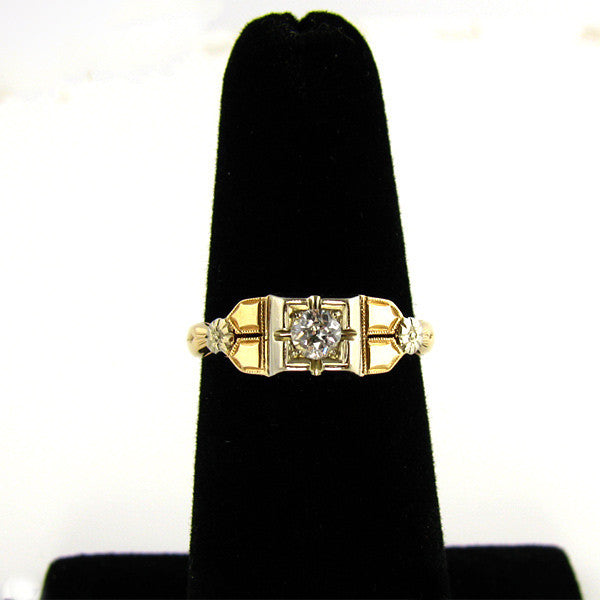 Art Deco Two Tone Diamond Ring On Hane
