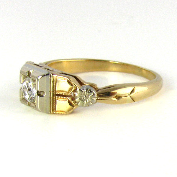 Art Deco Two Tone Diamond Ring Side