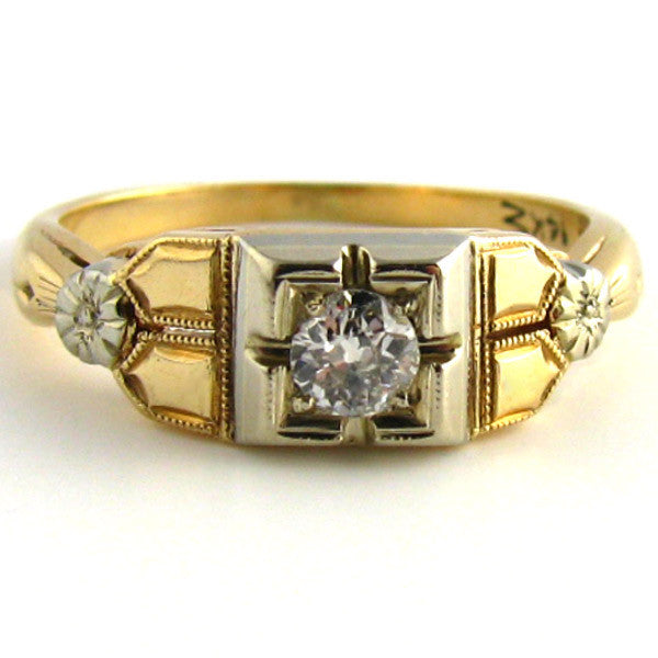 Art Deco Two Tone Diamond Ring