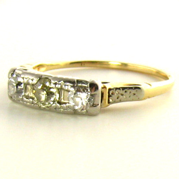 Three Stone Art Deco Yellow Diamond Ring Side