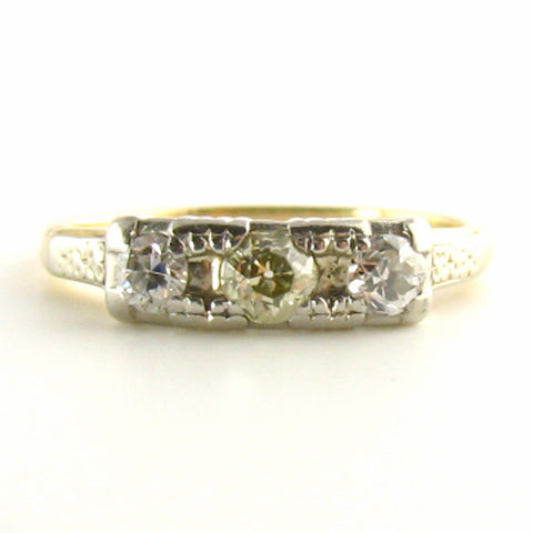 Trilogy Art Deco Yellow Diamond Ring
