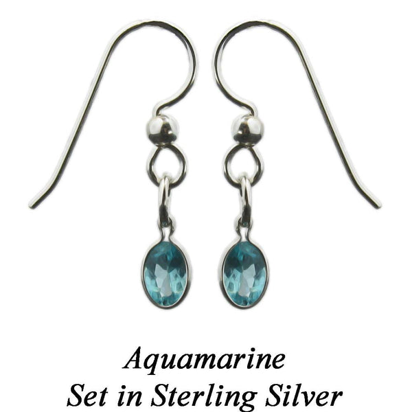 New Aquamarine Sterling Silver Dangle Earrings or Aquamarine Drop Earrings