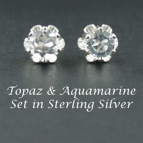 New Topaz & Aquamarine Sterling Silver Earrings in 4mm Buttercup Settings