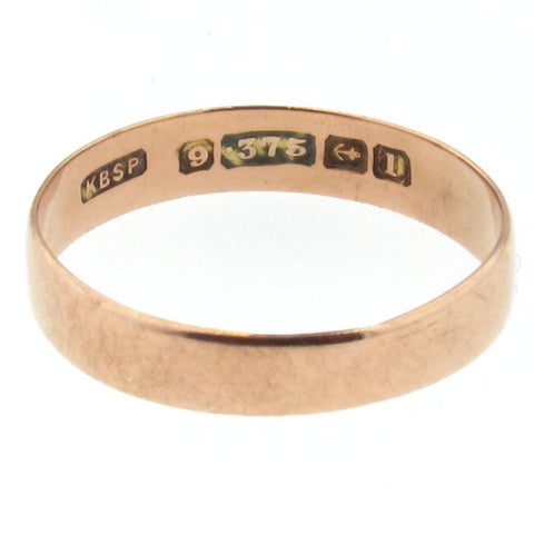 1910 Birmingham 9K Rose Gold Antique Wedding Band - Larger Size - Beautiful Antique Jewelry