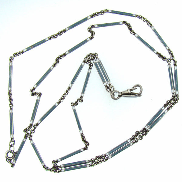 Art Deco Sterling Guilloche Necklace Watch Chain