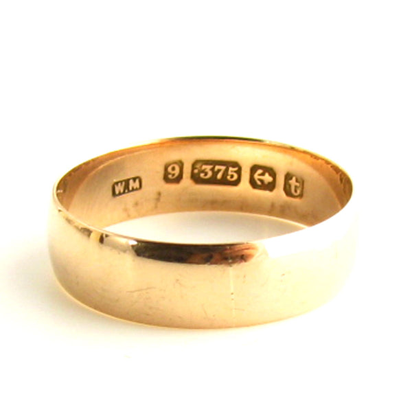 Antique 1918 Birmingham Rose Gold Wedding Band Hallmarks