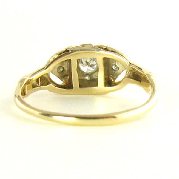 Art Deco Transitional Diamond Ring in Yellow Gold Back