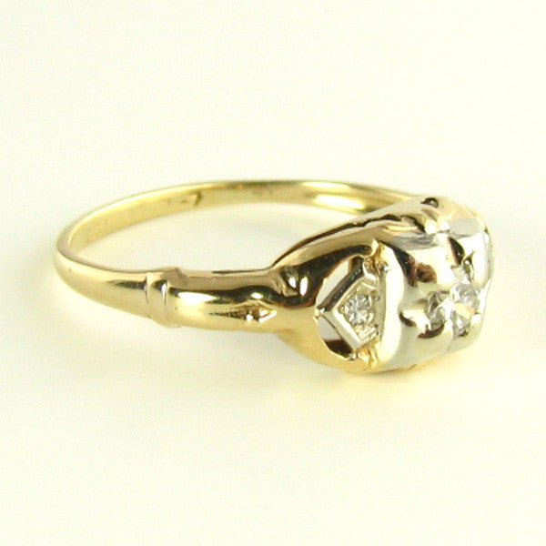 Art Deco Transitional Diamond Ring in Yellow Gold Side 2