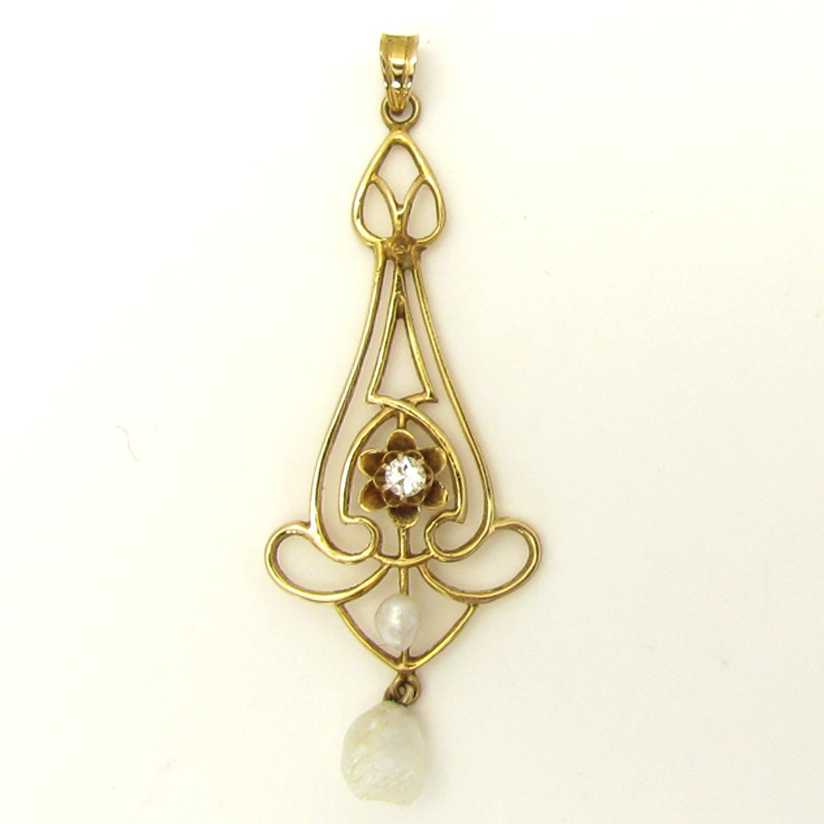 Antique Art Nouveau Diamond Necklace in Yellow Gold with Pearl
