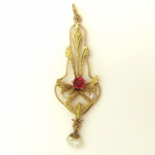 Antique Necklace Lavalier in Etched 10K Gold