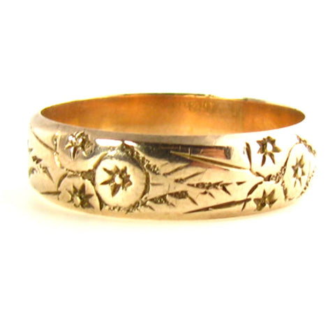 This antique Wedding Band from Victorian times, features etched 12K Rose Gold.