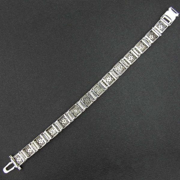 Art Deco Filigree Bracelet with Diamonds Stamped 14K White Gold Back