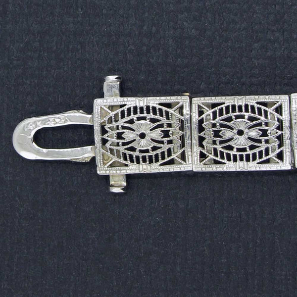 Art Deco Filigree Bracelet with Diamonds Stamped 14K White Gold Clasp