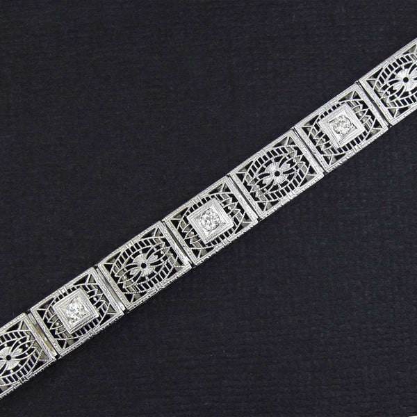 Art Deco Filigree Bracelet with Diamonds Stamped 14K White Gold