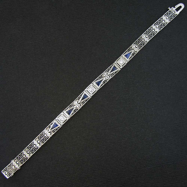 Original Art Deco Bracelet with Diamonds and Blue Sapphires in White Gold