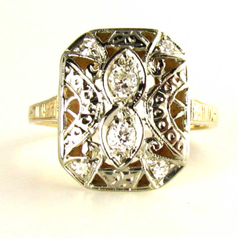 MidCentury Diamond Art Ring in 14K White Gold