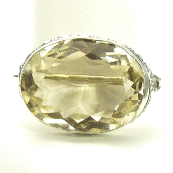Large Early 1900's Champagne Quartz Brooch in Silver