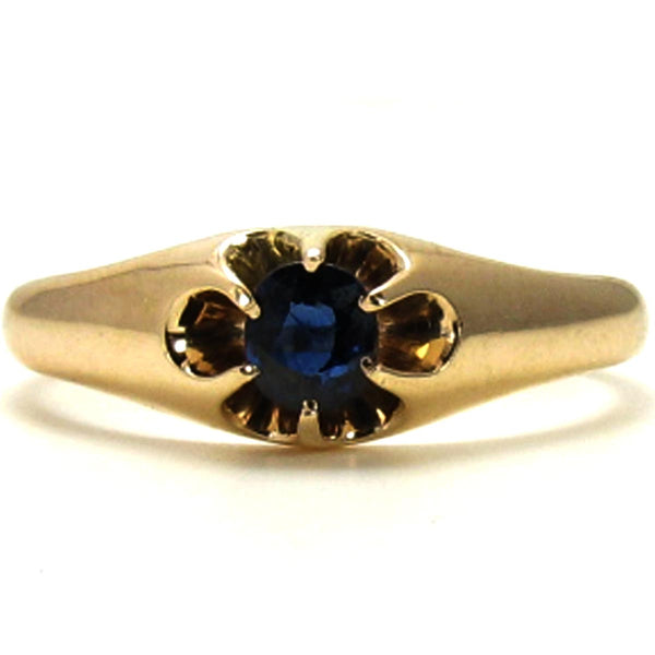 Early 1900's, Antique Engagement Ring - Natural Sapphire in 14K Yellow Gold