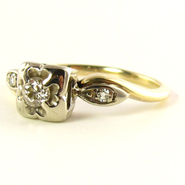 Pinky Ring: Vintage Diamond Ring in Yellow & White Gold Side
