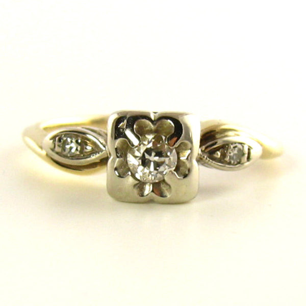 Pinky Ring: Vintage Diamond Ring in Yellow & White Gold