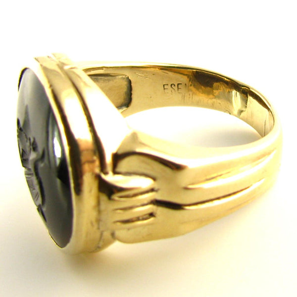 Vintage Mens Centurion - Roman Soldier Intaglio Ring in Sardonyx and 10K Yellow Gold Side