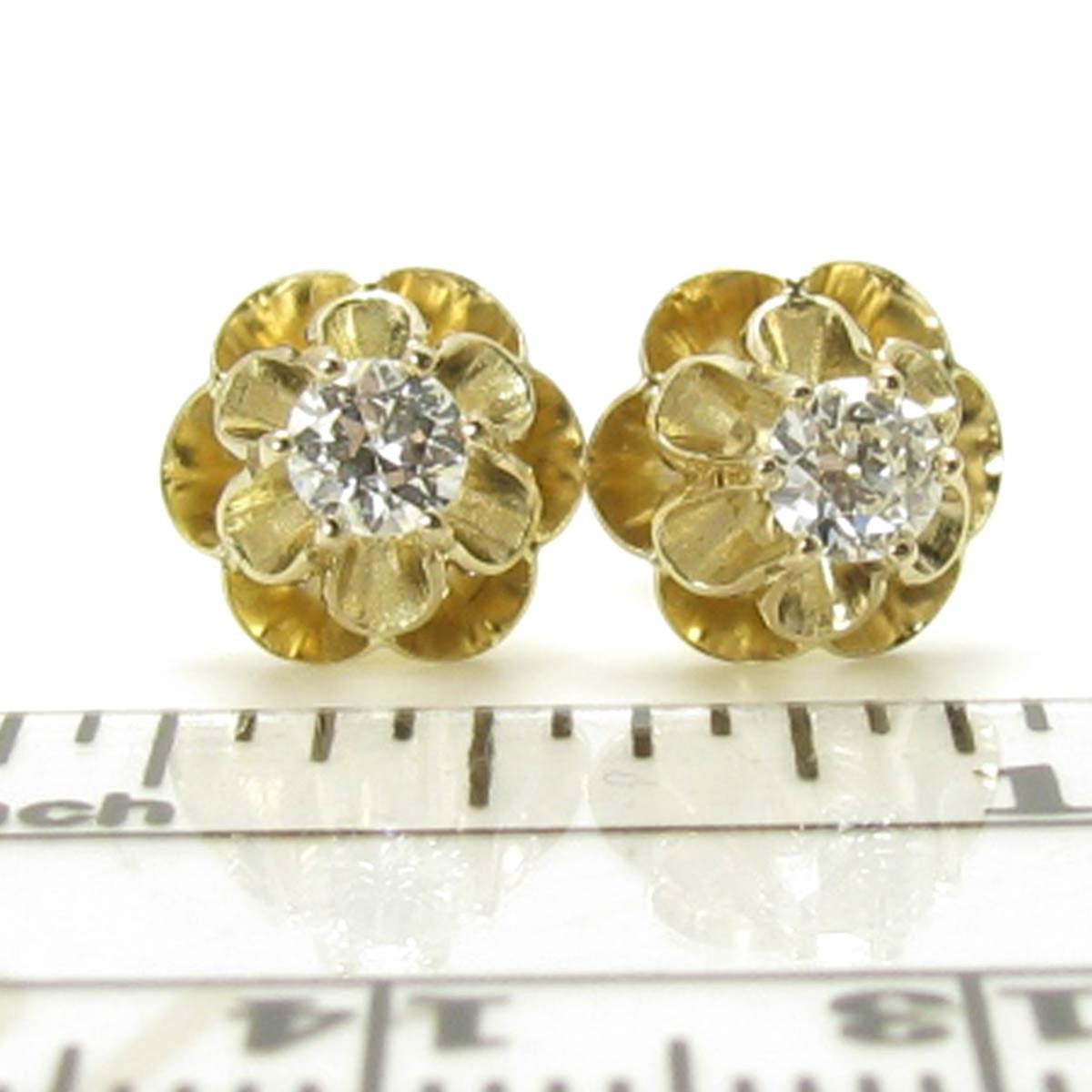 3ab6c6c5f ... Vintage Diamond Stud Earrings in 14K Gold Buttercup Settings, Appraised  $1250 ...