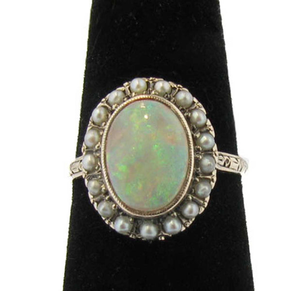 Vintage Opal and Pearl Ring in 12K Yellow Gold
