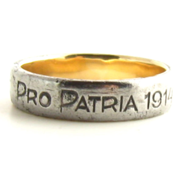 Historic 1914 Pro Patria Berlin Iron and Rose Gold Ring