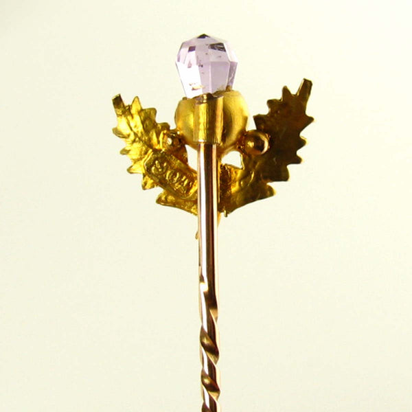 Edwardian Scottish Thistle Stickpin with Amethyst and 9K Yellow Gold Back