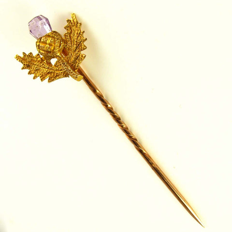 Edwardian Scottish Thistle Stickpin with Amethyst and 9K Yellow Gold