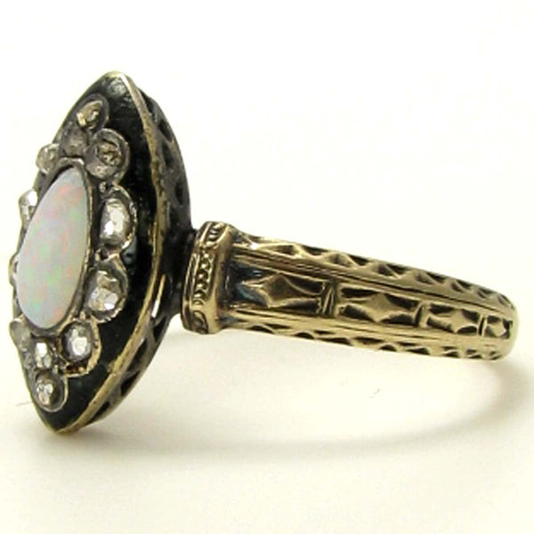 Victorian Opal and Rose Cut Diamond Ring with Black Enamel Side
