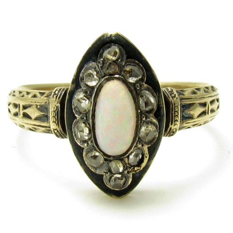 Victorian Opal and Rose Cut Diamond Ring with Black Enamel