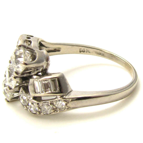 Large 1.35 carats Vintage Diamond Cocktail Ring Side2