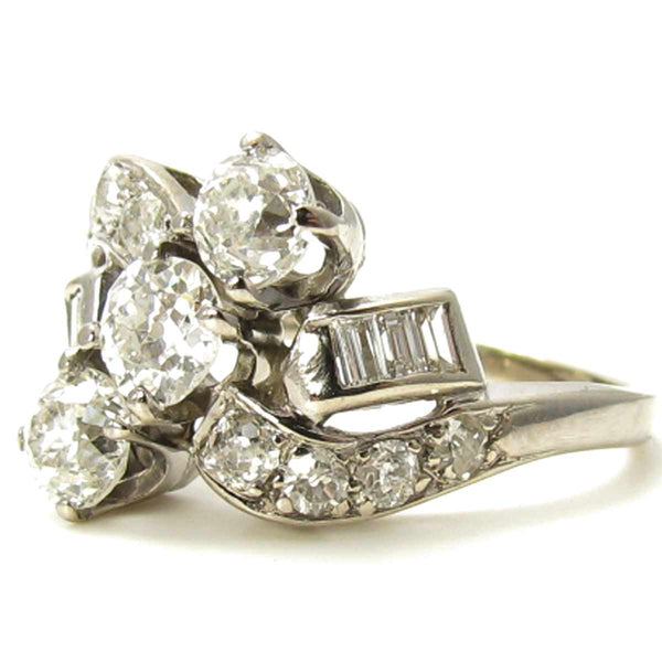 Large 1.35 carats Vintage Diamond Cocktail Ring Side